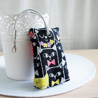 Lovely [Japanese cloth] cat friend three-dimensional tea bag zipper key bag, ID card available, black