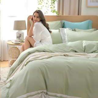 (Double Size) Dream Color - Pink Green 60 Cotton Multilayer Design Bed Pack Four Piece Set