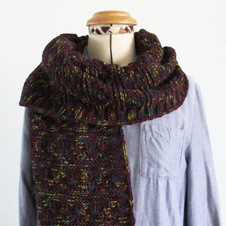 Blue wool scarves (dark wine red yellow flowers)