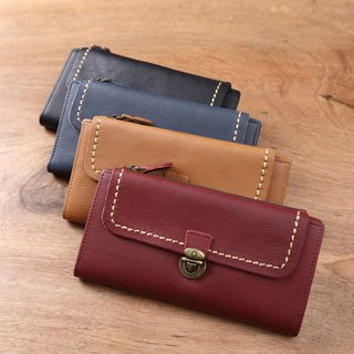 Wallet handmade leather long clip Wallets tri-fold wallet