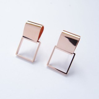 Geometric Landscape 4 Rose Metal Earrings