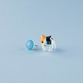 Japanese Bobtail Cat - Polymer Clay Earrings, Handmade&Handpaited Catlover Gift