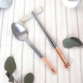 [KROLL] pure titanium household cutlery set - chopsticks + tablespoons (Alder)