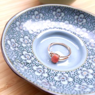 Limited romantic vintage Coral gemstone ring