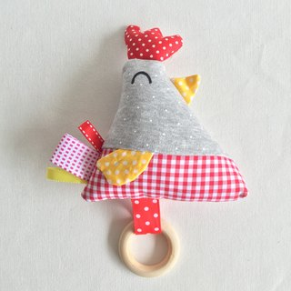 Homycat chicky soft toy rattle with wooden ring