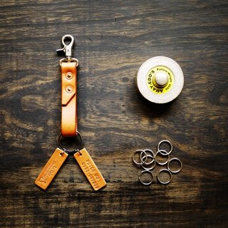 [Le Cuir] handmade leather copper rivets leather key ring