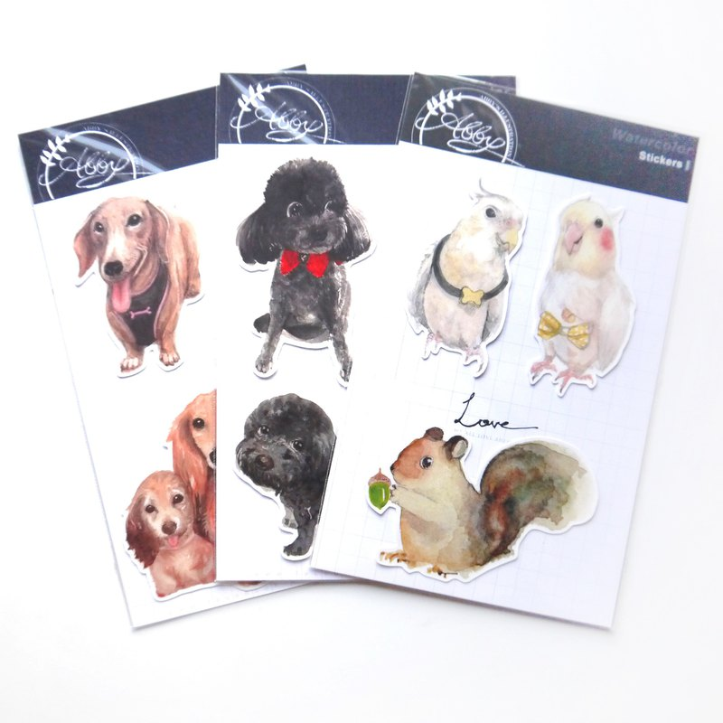 | Styling stickers | Optional 5 watercolor illustration animals / water-repellent design white stickers