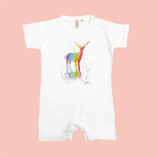 [Series] Sam Earth Rainbow Rainbow Family fitted baby deer Japan United Athle cotton short-sleeved package fart clothes feeling soft