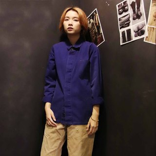 Tsubasa.Y Antique House A05 Work Shirt, Work Shirt Blue Collar Blue Jacket