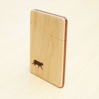 "wooden business card holder ""cat no.1"" Slim name-card case  Maple and Walnut"