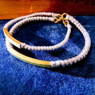 Wing Wing Hand-made jewelry wax cord woven bracelet (square brass, do a couple chain)
