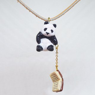 Hipster Panda handmade necklace