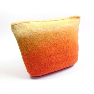 Handmade orange gradual wool felt wet felt universal cosmetic bag / citrus