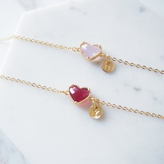 Customized sister gift, letter, gold-plated edging, heart-shaped glass, imitation gemstone, bracelet (2 colors)