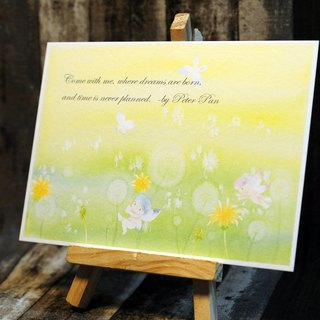 Hand painted watercolor postcard - dandelion elves