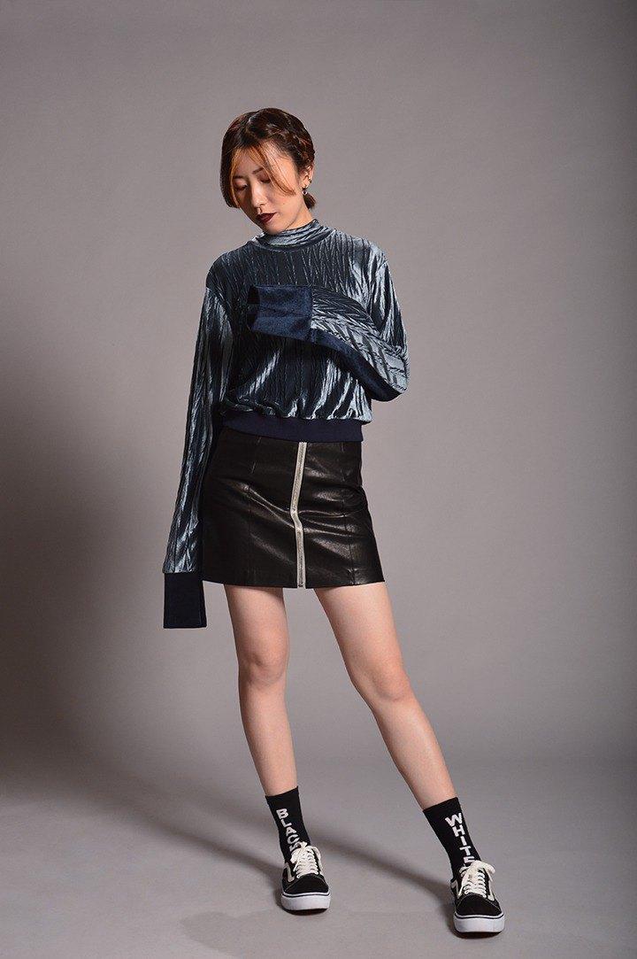 寬袖上衣 - 銀、深藍
