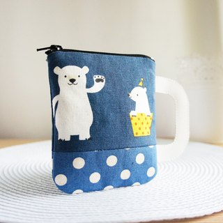 Lovely Polar Bear Mug, Multi-Purpose Handmade Coin Purse, Dot Blue (random shipment)