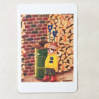 A little boy's journey (firewood) Postcard no.064