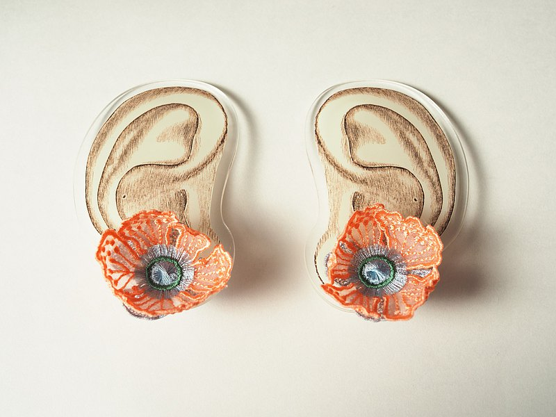 ARRO / Embroidery earing / FLOWERS AT DAWN 2 / PINK