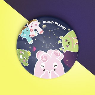 【Plump Planet Friends】Pin back Badge | Galaxy Planet