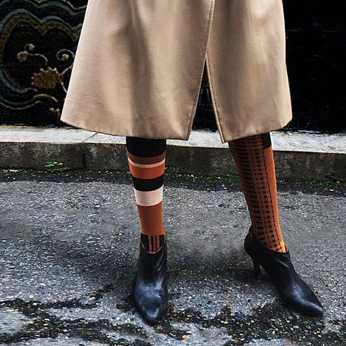 靴下パンプキンタータン / irregular / socks / stripes / brown / british