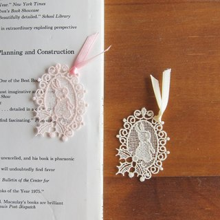 Embroidered  Lace bookmarks :Little bunny