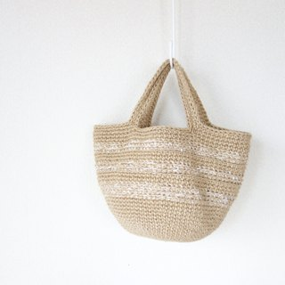 Round bottom hand-bag / white line / jute / yuoworks