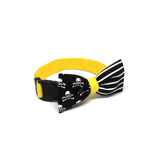 GOOOD Dog Collar (Medium Sz) | Smarty - Stripes & Skulls | 100% Black Lines and Yellow Fabric