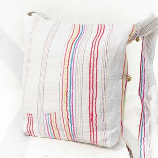Birthday gift Mother's Day gift Valentine's Day gift handmade limited edition of a natural cotton storage bag / ethnic wind diagonal backpack / embroidery shoulder bag / side backpack - Rainbow Forest cloth handmade patchwork cotton hemp handmade e