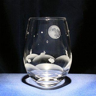【Rabbits fun with moonlight】 Tumbler glasses