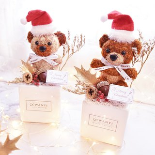 WANYI Christmas Bear Potted Flower Dry Flower / Christmas / Desk Decoration / Exchange Gift
