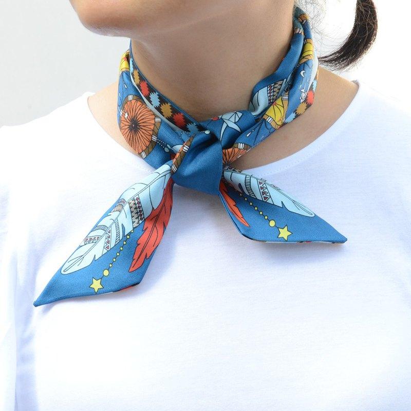 捕夢網蝴蝶真絲手工小絲巾 領巾 長條絲巾 領巾 復古 法式 孔雀藍