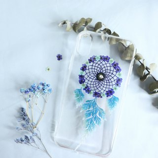 Pressed Flower Dreamcatcher Phone Case | Blue & Mint Green