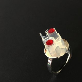 Mini DV tapes hardware ring  | crystal | Chrome silver | For her | limited gift