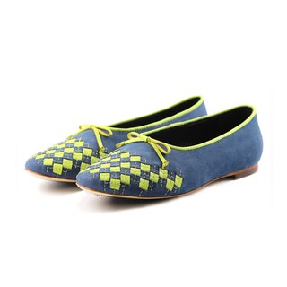 PLAYGAME W1059 GrayBlue leather flats