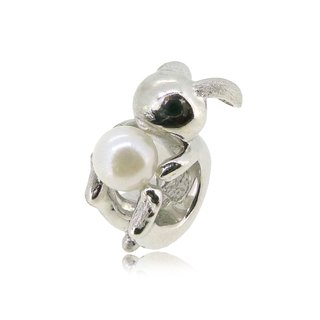 RABBIT SHAPED SILVER CHARM WITH AKOYA PEARL