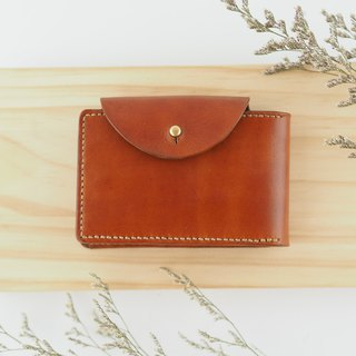 Handmade leather folio card holder card holder brown