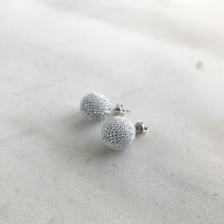 Silver lame and Silk Crocheted Pierced Earrings