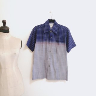 / Lingerie dream / gradient purple-blue plaid short-sleeved shirt