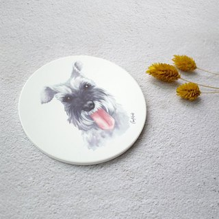 Watercolor style pet portrait coaster (Schnauzer - Grey)