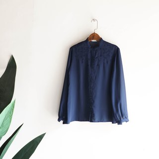 River Water Mountain - Hiroshima Deep Blue Embroidered Autumn Micro Cool Handmade Antique Silk Shirt Jacket
