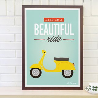 Scandinavian Retro Simple Poster Life is a beautiful ride No. 2 original without frame