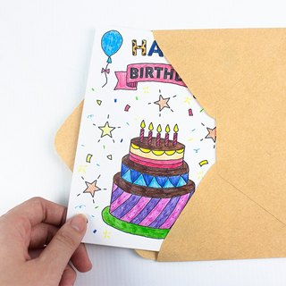DIY Doodle Birthday Card/Blessings Thank You Greeting Cards/Creative Cute Cards/Hand-painted Cards
