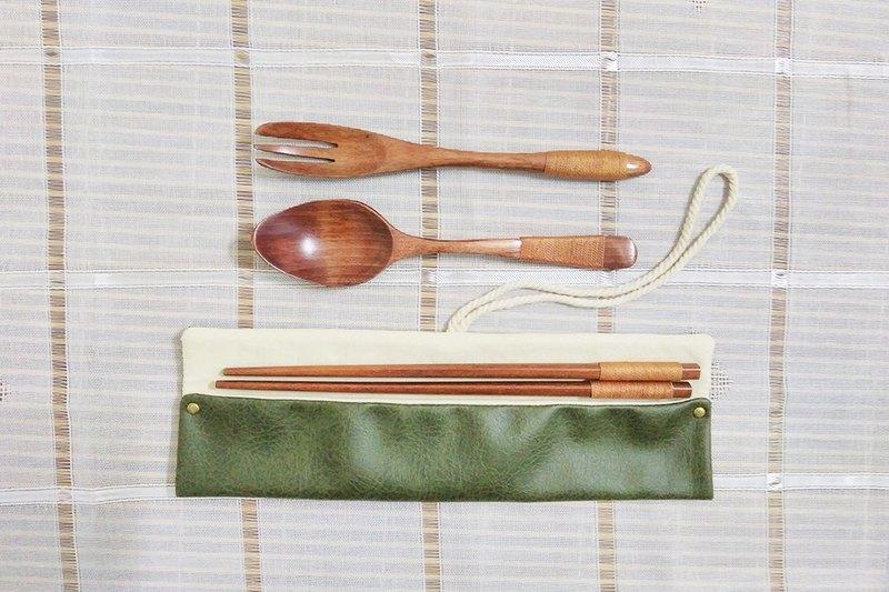 【出清品】環保餐具袋 便攜餐具套 裂痕紋 軍綠色