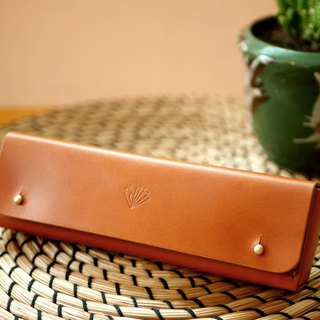 Handmade Personalized Pencil Case/Pen Pouch with brown tan color leather