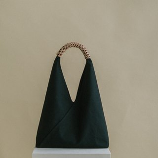 Woven Triangle Bag (L) (Jade Ink)