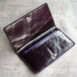 Wax Antique Leather Long Clip - Purple 6 Card Wallet Wallet Phone Bag