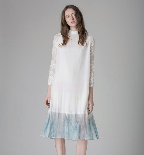 Temperament Print Sleeve Lace Dress - Hong Kong Original Brand Lapeewee
