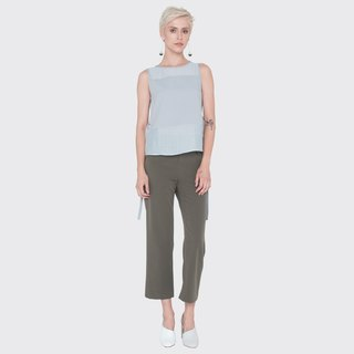 Sleeveless Textured Top with Sash (Grey)