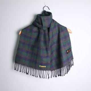 FOAK vintage blue and green plaid cashmere scarf